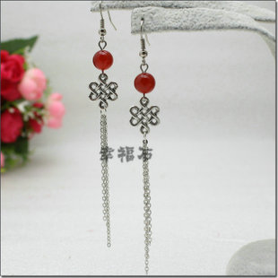 925 sterling silver earrings natural onyx earrings Ethnic Chinese knot Tibetan silver jewelry female long tassel ear