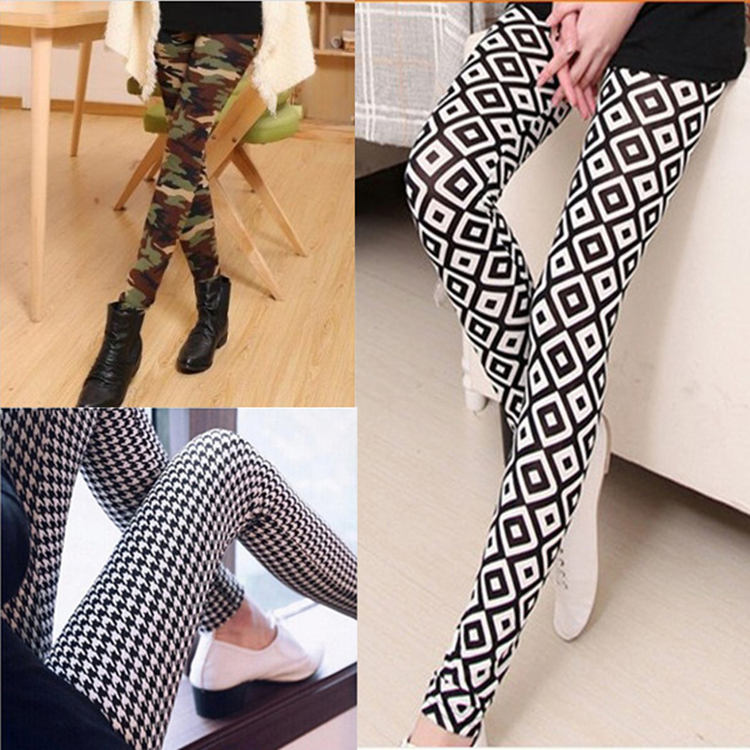 Printed Leggings women wear spring and autumn thin 9-point pants, camouflage flower pants, elastic tight and thin leggings