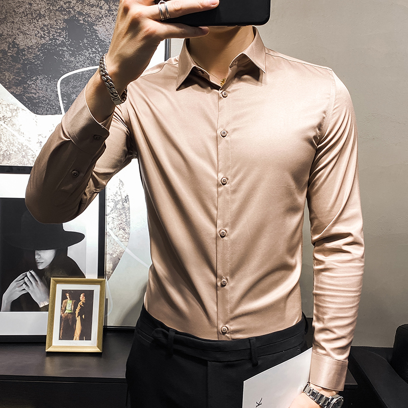 2020秋季新款时尚男士帅气潮韩版修身K衬衫纯色长袖衬衣C874-P45