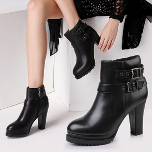 Alicerayre winter in Europe and America heavy bottomed leather boots thick high heeled leather boots Martin boots knight boots women s boots