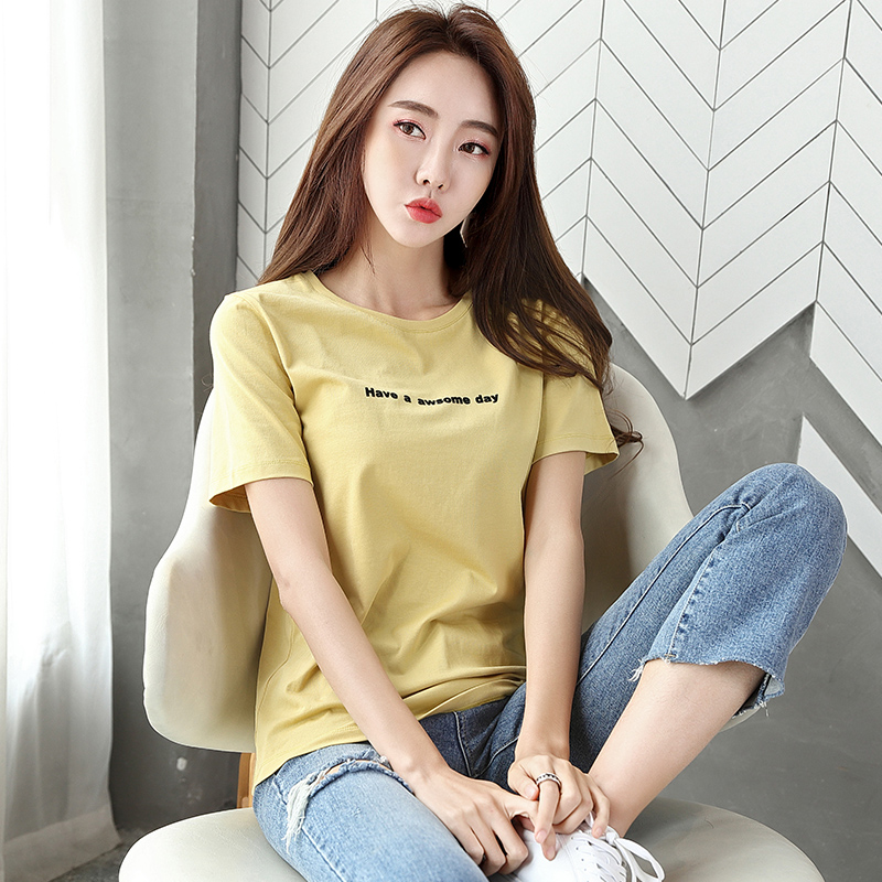短袖衣服女2020夏装新款纯棉时尚韩版宽松女士t恤黄色半袖上衣夏