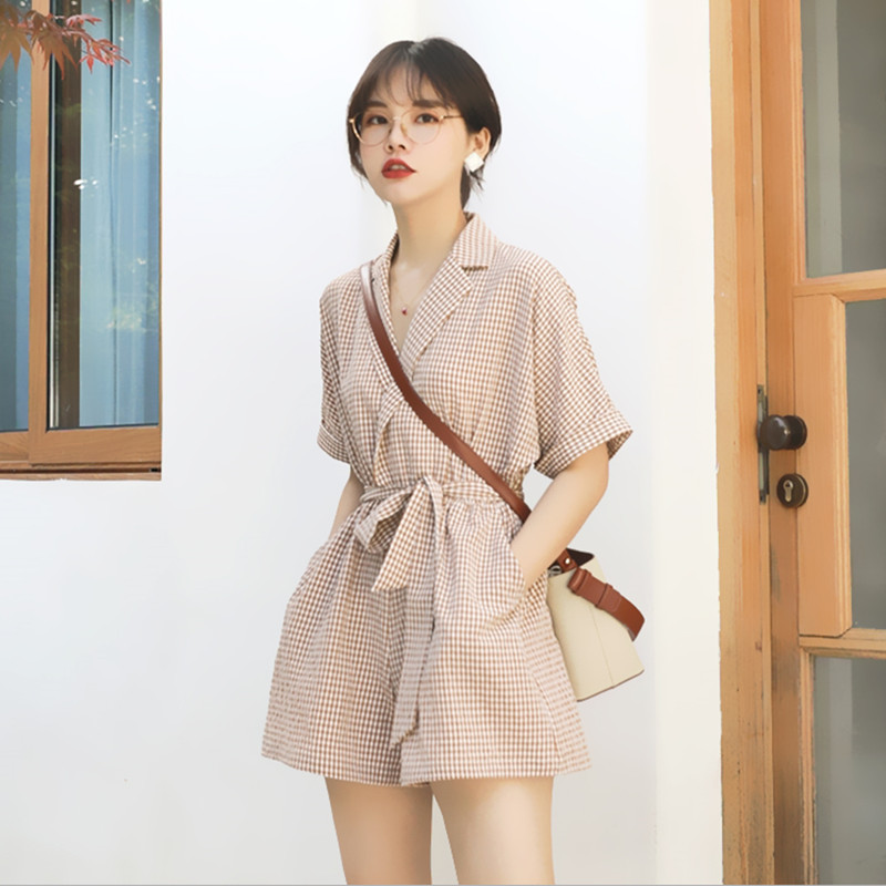 One piece clothes womens summer loose one-piece shorts womens small tall waist thin one piece Wide Leg Pants Set