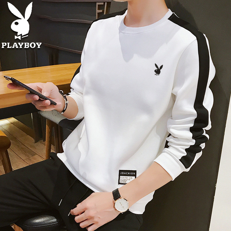 Playboy spring sweater men's T-shirt long sleeve loose boys' casual bottoming shirt Korean Fashion Top