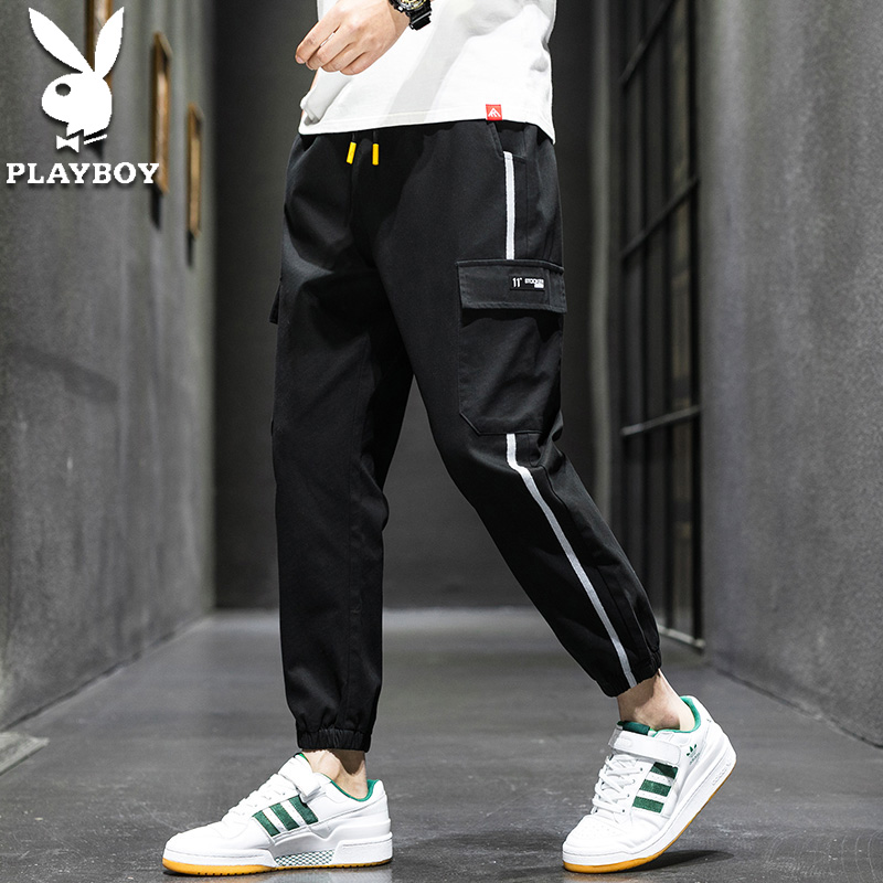 Playboy's new leisure pants in spring and summer 2020 men's Korean fashion tooling nine point leisure Leggings