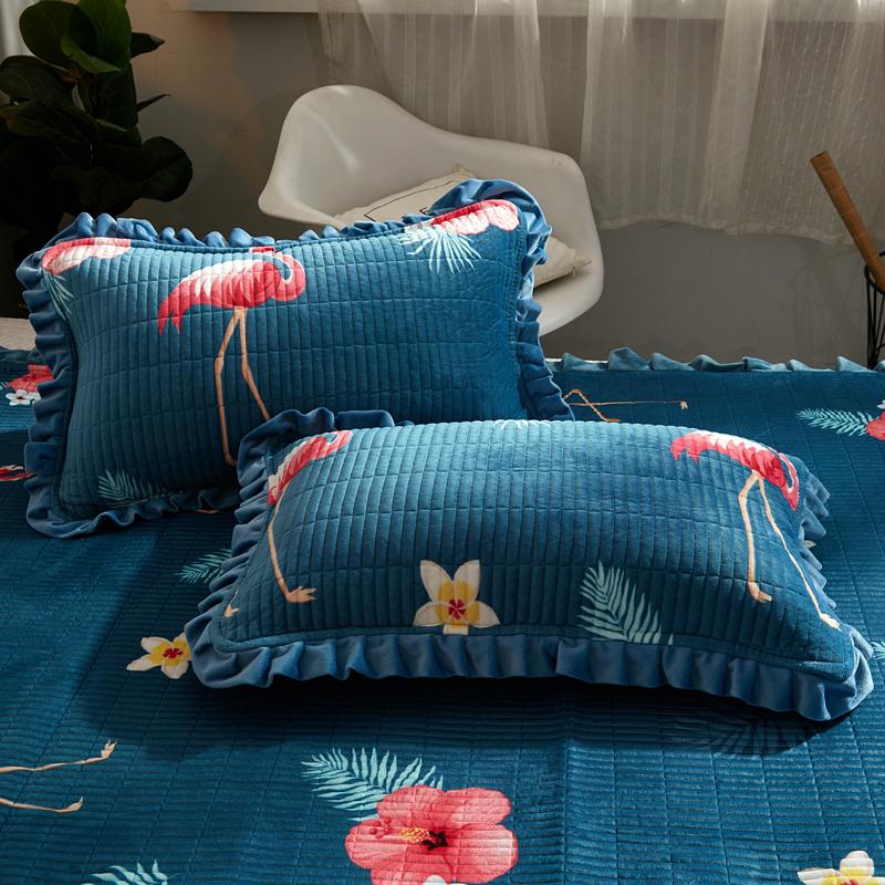 水晶绒珊瑚绒夹棉枕套一对装牛奶绒保暖枕头套法兰绒加毛绒枕芯套