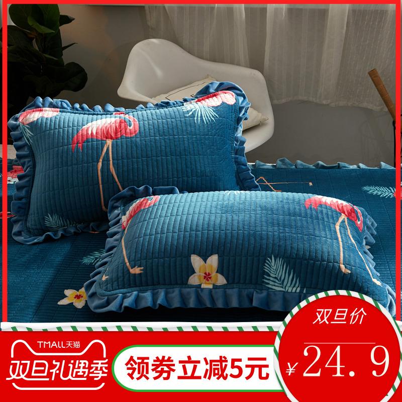 水晶绒珊瑚绒夹棉枕套一对装加绒保暖枕头套法兰绒毛绒枕芯套冬季