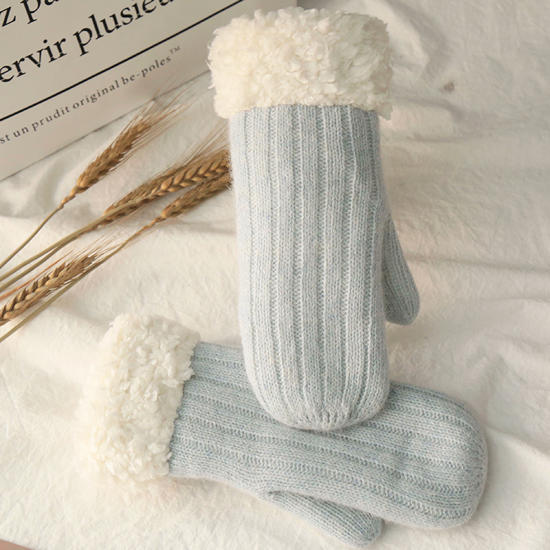Korean cotton gloves womens winter knitting with plush and thickened multi finger warm Christmas soft girl pure color wool knitting