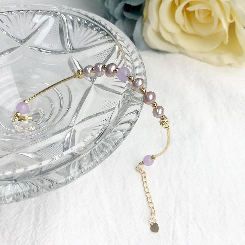 Purple Pearl Bracelet version elegant and versatile personalized design bracelet Jewelry exquisite gift purple Freshwater Pearl Bracelet