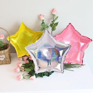 生日婚礼宴会装饰用品18寸镭射闪亮爱心 星星铝膜气球结婚布置