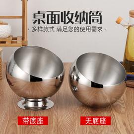 不锈钢桌面垃圾桶家用厨房收纳桶餐桌清洁筒斜口碗带盖KTV烟灰缸