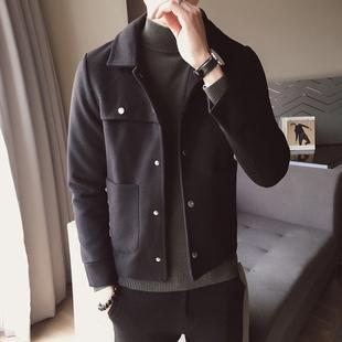 潮牌2020秋新款男士呢子外套潮流短款风衣英伦风青年夹克毛呢大衣