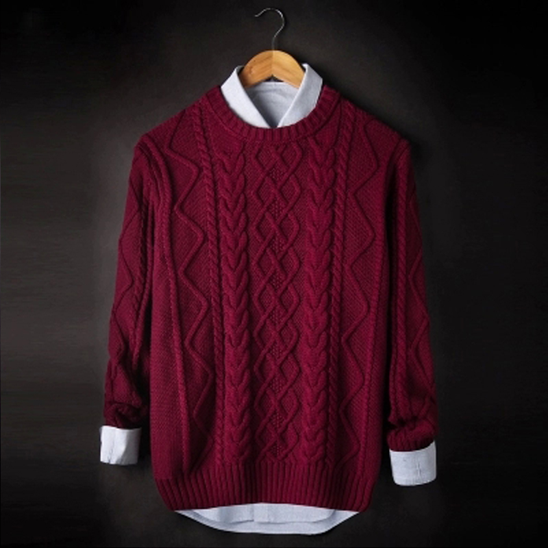 Autumn and winter thick sweater mens T-shirt thick thread twist sweater retro round neck thick needle warm pullover