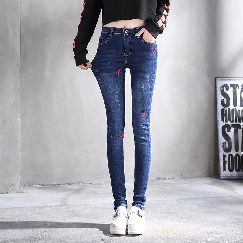 欧熙妮2018春季韩版新品刺绣小脚牛仔裤女修身显瘦高腰弹力学生裤