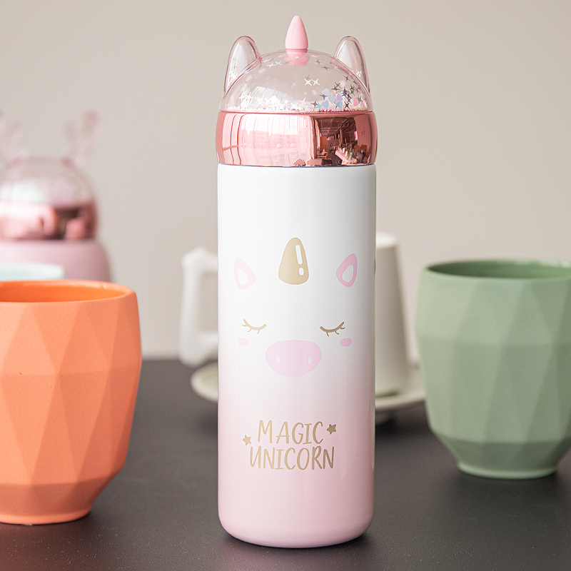 New lovely girl heart ins childrens thermos cup water cup portable female primary school students creative personality sequins small