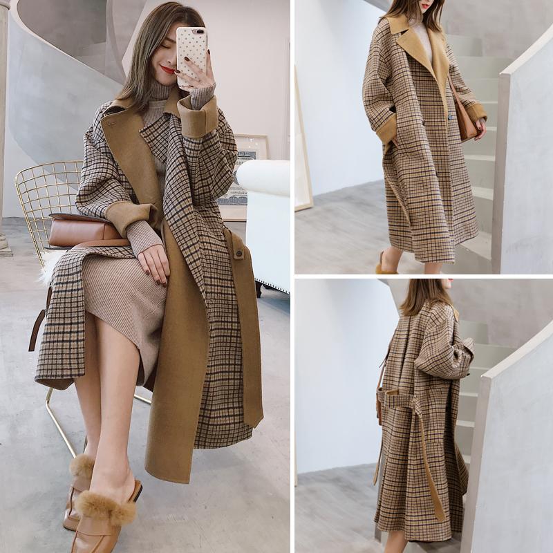 2017冬新款韓國中長款韓版原宿格子森系毛呢外套赫本妮子大衣女裝