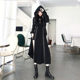 暗黑风套装女春装2020新款时尚长袖连帽卫衣吊带连衣裙洋气两件套