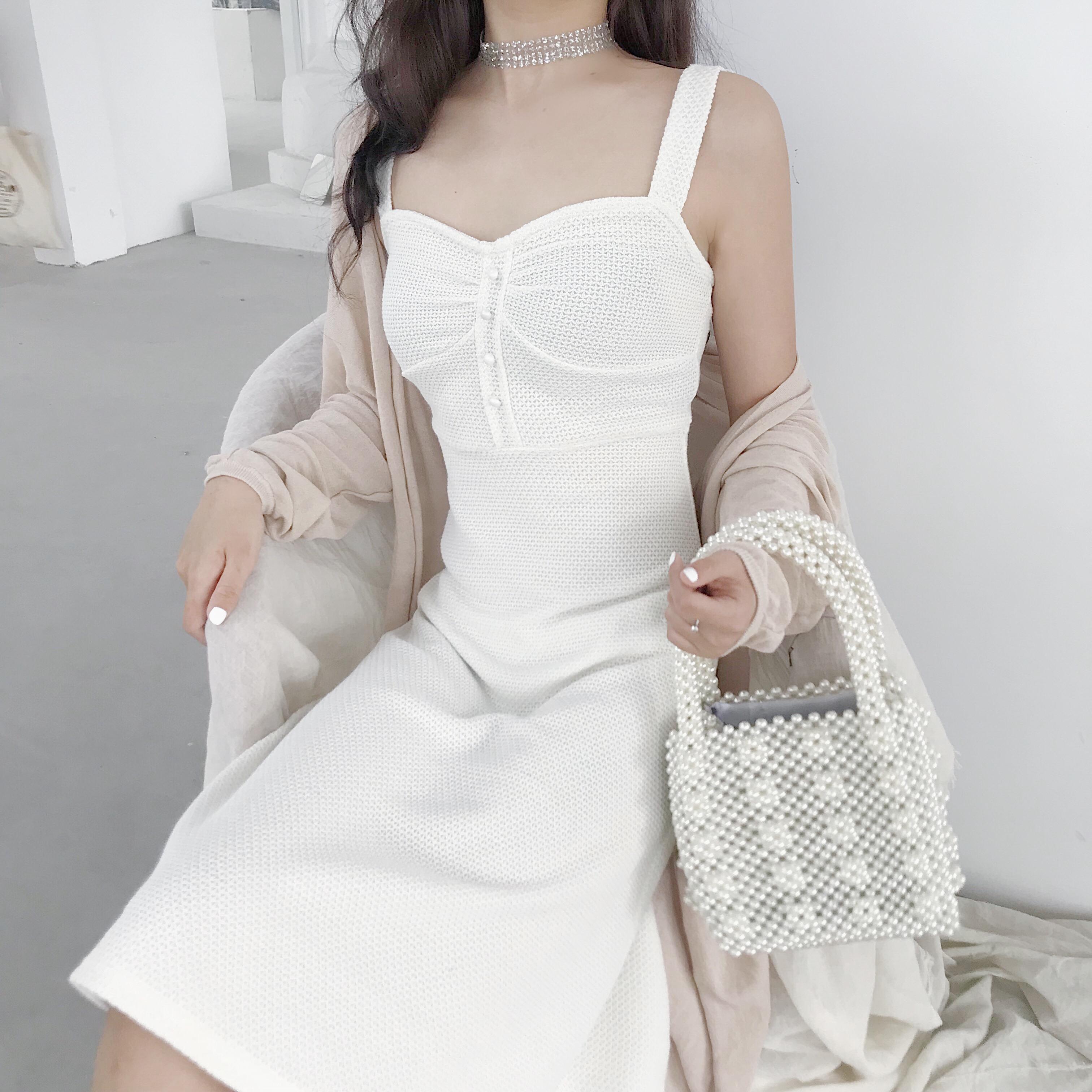 韩国chic收腰显瘦时尚纯色小心机设计感百搭甜美弹力吊带裙连衣裙