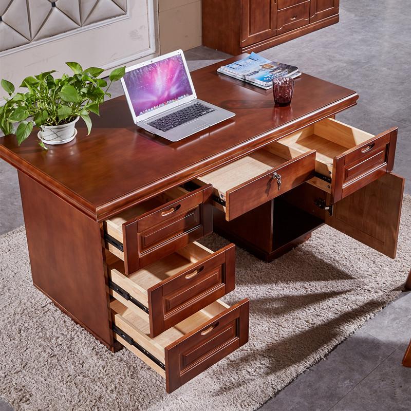 书桌实木家用办公桌抽屉带锁现代中式电脑桌红棕色卧室写字台包邮