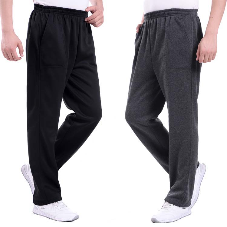 Mens sportswear autumn and winter Plush thick mens middle-aged casual pants middle-aged and old peoples elastic waist thin long pants