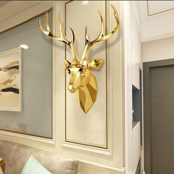 招财鹿头壁挂北欧轻奢壁饰电视背景墙面装饰餐厅墙壁挂件玄关挂饰