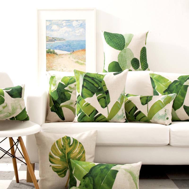 水彩色植物北欧ins美式棉麻腰枕