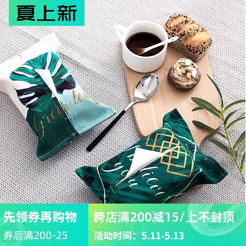 绿植叶子布艺纸巾盒袋原创设计书房抽纸客厅创意纸巾袋餐巾纸袋 Изображение 1