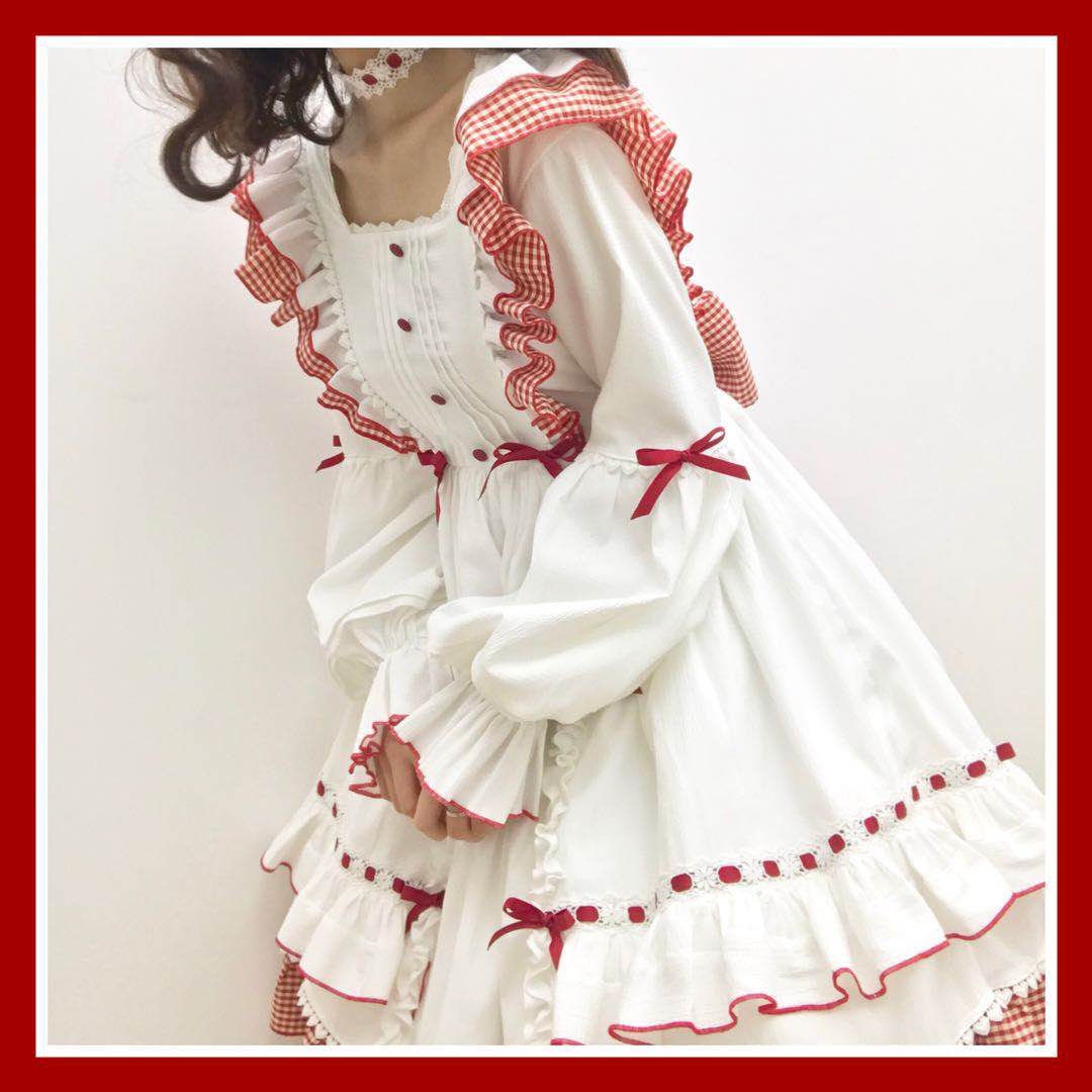 [sold out, out of print] - second cute - Long Sleeve Plaid Lolita Dress Lolita op