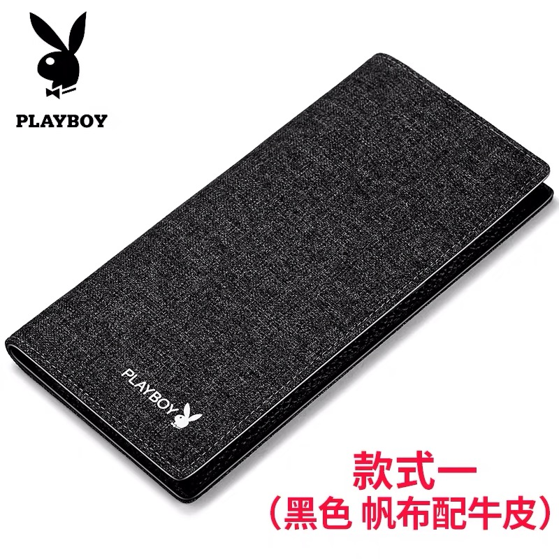 Playboy wallet mens long Canvas Wallet Korean leather leather youth student simple vertical Wallet