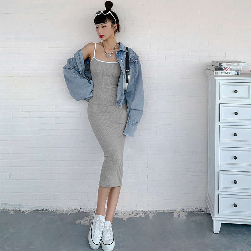 タオバオ仕入れ代行-ibuy99 紧身裙 #Sisjuly#日常穿搭纯色基础款紧身吊带连衣裙女 百搭显瘦包臀裙潮