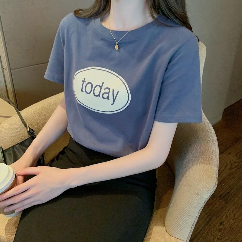 短袖t恤女2021年新款夏季韩版宽松纯棉半袖上衣白色体恤打底衫潮