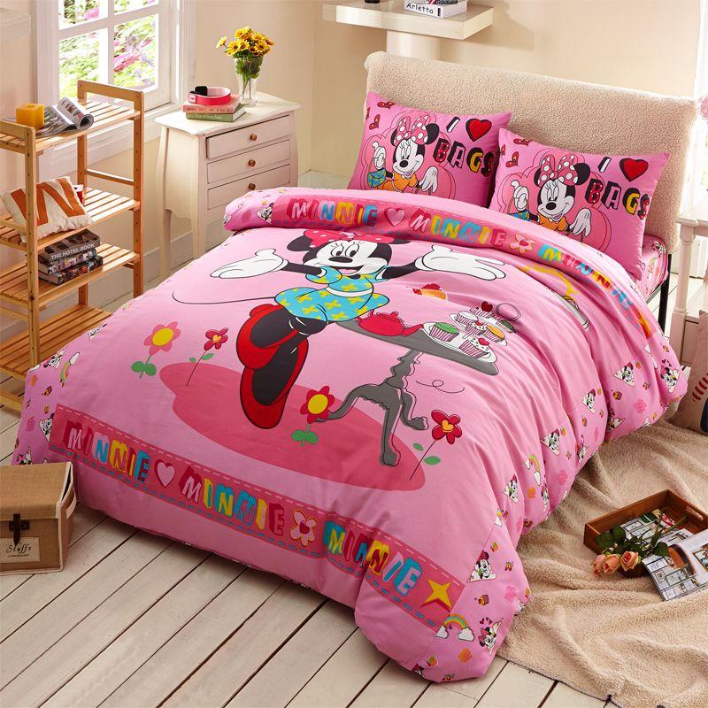 Disney хлопок деятельность печать детская кроватка на три образца принцесса минни мультики детская кроватка одноместная подушка крышка одеяло