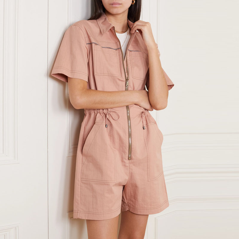 Spring fabric pink Jumpsuit short sleeve shorts twill cotton waiting for the trend of summer Jumpsuit