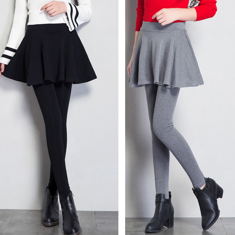 Spring and summer bottoming pants with skirt fake two pleated skirt pants pants Korean elastic tight womens pants
