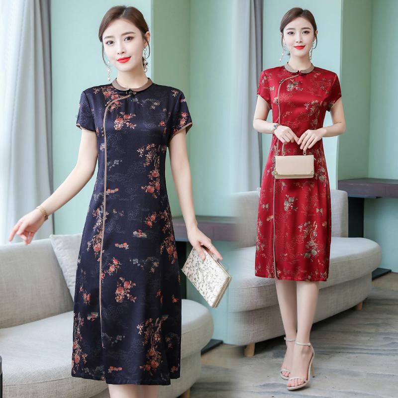 大码红色重磅杭州桑蚕丝改良连衣裙12月08日最新优惠
