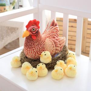 可爱仿真大公鸡老母鸡小鸡布娃娃创意公仔毛绒玩具玩偶生日礼物女