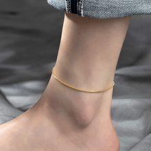 蛇骨脚链女2021新款网红款ins小众精致高级感18k金加长钛钢不掉色