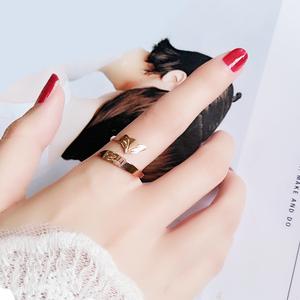 开口可调小狐狸戒指女ins潮时尚玫瑰金个性钛钢指环招桃花不掉色