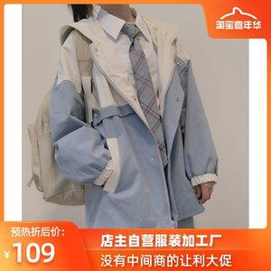 2019年秋季新款小个子学院风软妹工装BF风衣夹克外套女学生