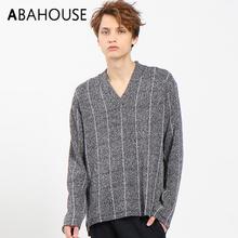 ABAHOUSE_春夏款日本制男士长袖V领套头条纹宽松针织衫0040020024