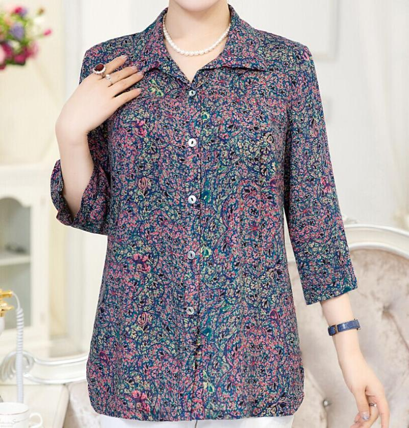 Middle aged and elderly womens artificial cotton spring Shirt Large mothers loose coat granny 60-70-80 years old top