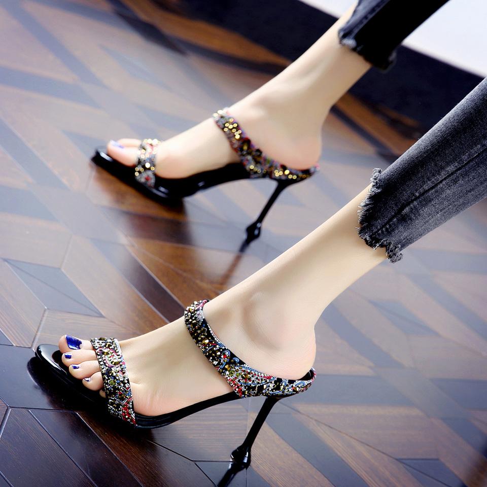 民族風露趾鉚釘水鉆高跟鞋女涼拖夏季拼色魚嘴細跟宴會一字拖鞋女