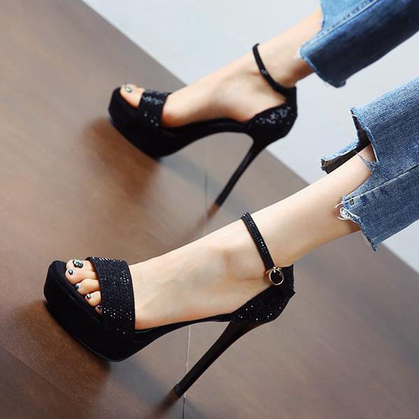 金色婚宴鞋女2021夏季新款露趾水钻细跟超高跟鞋防水台一字扣凉鞋