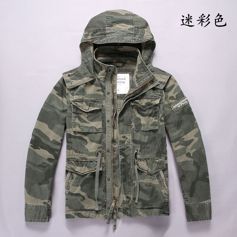 Camouflage jacket mens special forces field work clothes pure cotton casual camouflage clothes hooded medium and long coat large