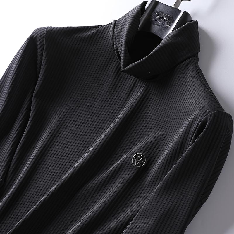 (用30元券)秋冬新款弹力竖条纹高领打底衫男士青年时尚内搭长袖T恤纯色小衫