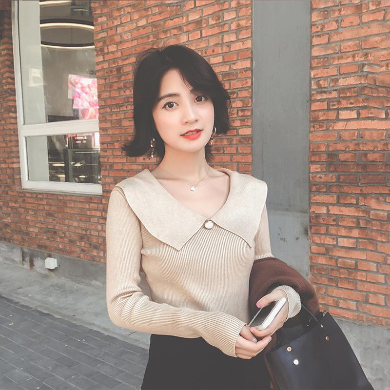 2018秋装新款韩版v领修身针织衫女秋季chic早秋长袖毛衣初秋上衣