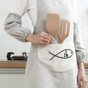 日式北歐時尚簡約棉麻純素色女長款圍裙套袖廚房防油加厚耐臟套裝