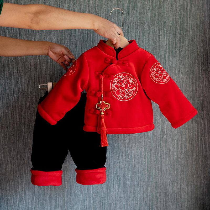 婴儿过年衣服喜庆冬装宝宝拜年服加厚中国风唐装男童女童唐装新年