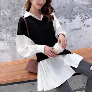 3038實拍春夏秋女裝針織衫套裝新款黑白拼接襯衫領假二件套