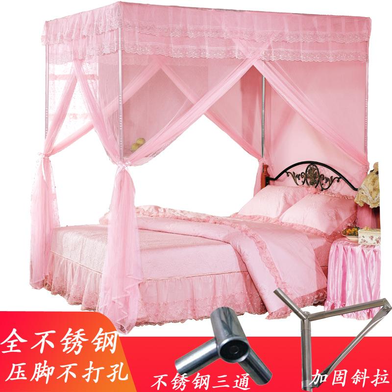 蚊帐不锈钢加厚25MM三开门加密方顶落地双人床加大1.5米1.8m家用