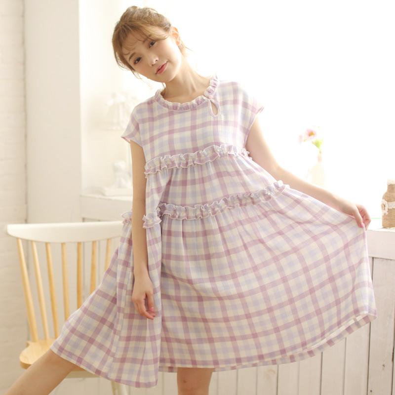 12-08新券日系甜美格子大裙摆无袖夏纯睡裙